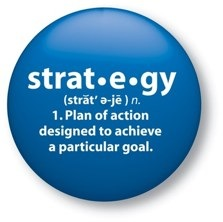 blue circle with definition of web design strategy