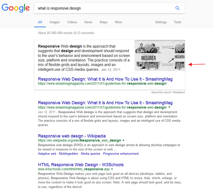 rich answers search box